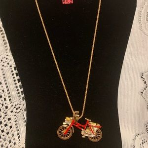 Betsy Johnson red bicycle necklace NWT